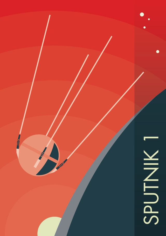 Sputnik 1 - The 1957 USSR satellite that kicked off the space race.  Prints, posters, T-Shirts available at http://www.redbubble.com/people/spacewalkwithme/works/24974152-sputnik-1