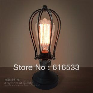 Free shipping Nostalgic vintage wrought iron table lamp art table lamp dimming bedside lamp for home bedroom t8094 $96.88