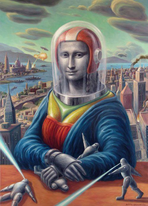 """Esa mirada testiga y perpetua de la mira-lisa ..SciFi Mona Lisa: """"Mona and metal men"""", Painting by Mark Brya"""