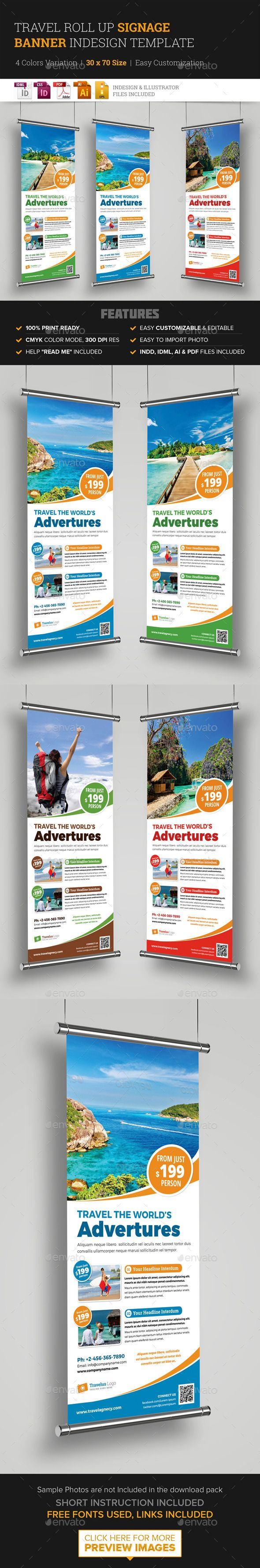 Travel Roll Up Banner Signage InDesign Template — Vector EPS #roll up signage ...