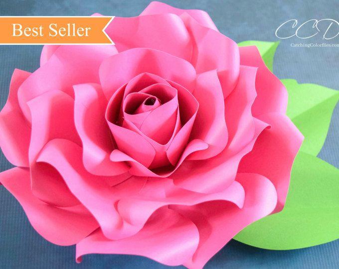 Paper Roses Giant Paper Rose Template Printable Pdf Flower