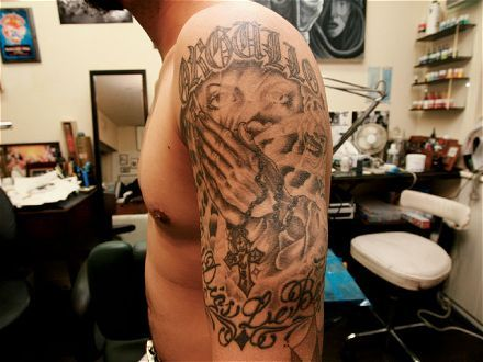 no line tattoo style flower chicano letter tattoo