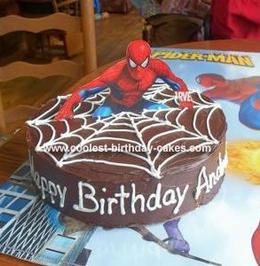 Homemade Spiderman Cake: This Spiderman Cake is a 2 layer 12 round cake frosted with chocolate tub frosting. The web was made with vanilla tub icing and a #2 decorating tip. After