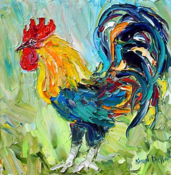 Original oil Rooster Palette Knife painting by Karens Fine Art