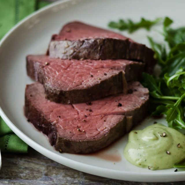Slow-Roasted Filet of Beef with Basil Parmesan Mayonnaise - Barefoot Contessa