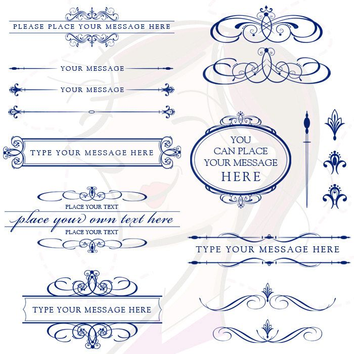 Line Art Wedding : Vector clipart retro navy blue calligraphy flourish