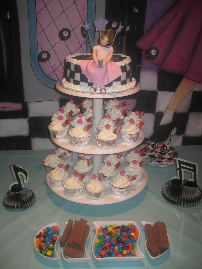 Cake on top with soda-fountain cupcakes