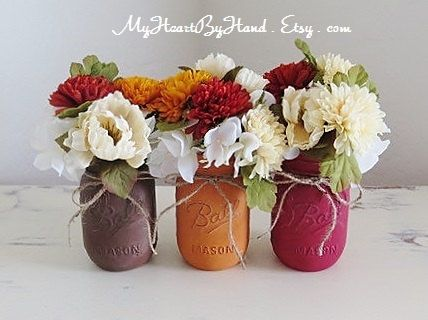 Painted And Distressed Mason Jars Rustic Fall Centerpieces Wedding Halloween Thanksgiving Decor Pumpkin Spice Flower Vases