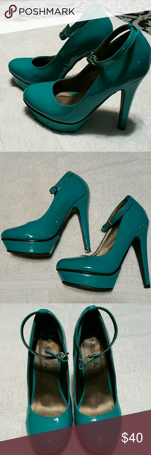 Miss A. Teal high heels with strap Miss A. Teal platform heels with strap.  In good condition, with a couple marks/scratches noted in pictures.  These are unbelievably sexy heels and very hard to find especially in this color.  Take these heels out on a night on the town. They don't belong just sitting in the closet never worn.. Miss A. Shoes Heels