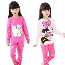 Primavera e outono meninas pijama define bonito padrão pijamas de algodão de manga comprida Sleepwear crianças roupas(China (Mainland))