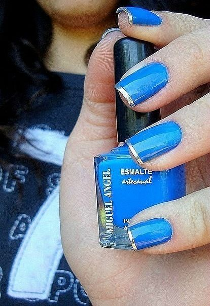 Fine Tip Manicure: Blue Azul, Blue Nails Art, Blue And Gold Nails Art, Blue Silver Nails, French Tips, Blue Gold Nails, Blue And Silver Nails, Animal Nails Art, Blue French Nails