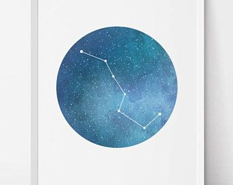 Big Dipper Ursa Major, Constellation Art, Navy blue print, Constellation print, Stars decor, galaxy art, astronomy print, printable artwork