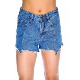 Light Denim Distressed Fringe High Waist Button Fly Cheeky Shorts