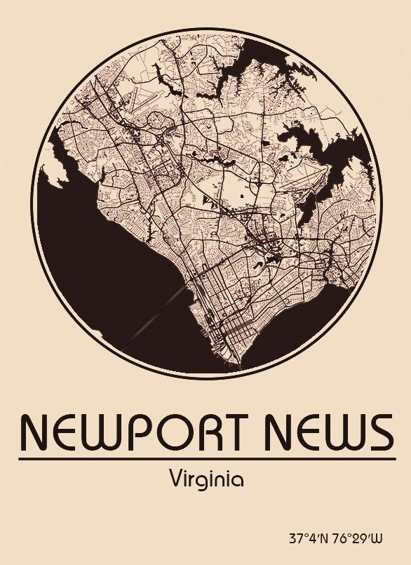 Karte / Map ~ Newport News, Virginia - Vereinigte Staaten von Amerika / United States of America / USA