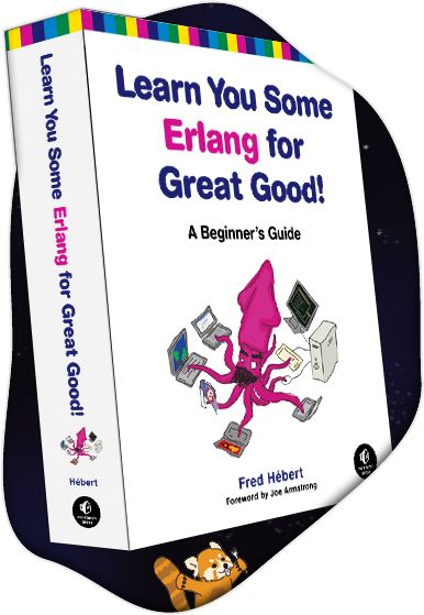 Learn You Some Erlang book coming out of space with a red panda saying hello