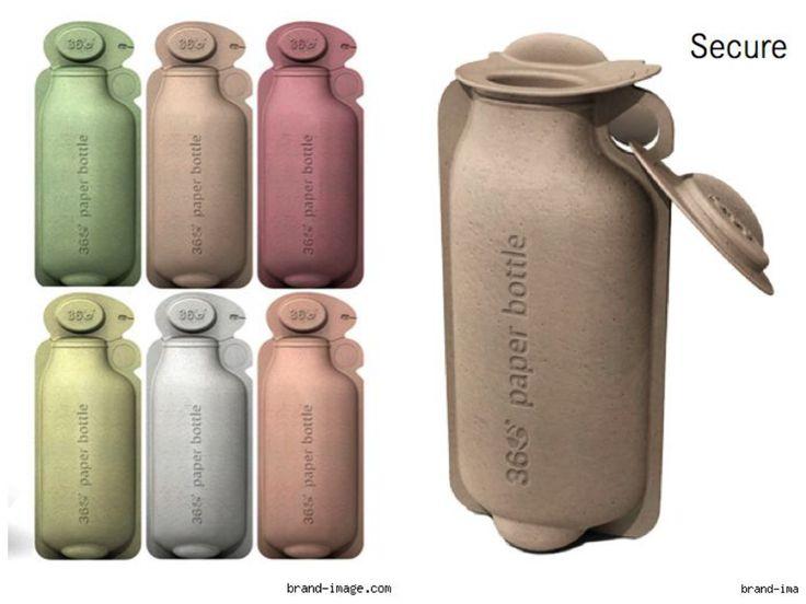 La 360 Water Paper Bottle, une bouteille d'eau en carton recyclable, a été créée par Jim Warner, un designer de la société Brandimage, (dont un de ses métiers est le design environnemental ). L'objectif de ce produit est de contrer la multiplication importante des bouteilles en plastiques jetées dans la nature ou incinérées, provoquant des dégâts incommensurables sur l'environnement.