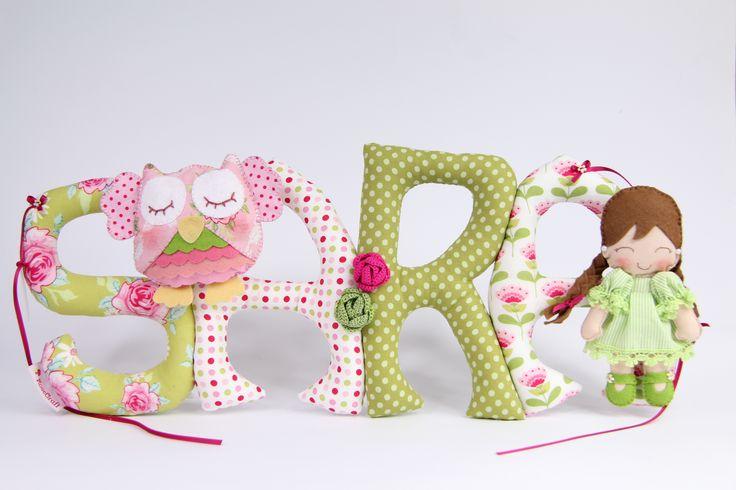 Sew letters with felt owl and cute doll Szyte literki z sówka i laleczką