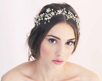 Delphine Swarovski Crystal Headpiece Gold Bridal Wedding