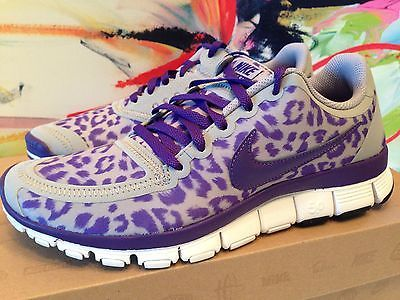 WOMENS NIKE FREE 5.0 V4 LEOPARD WOLF GREY/ COURT PURPLE - RARE - SOLD OUT