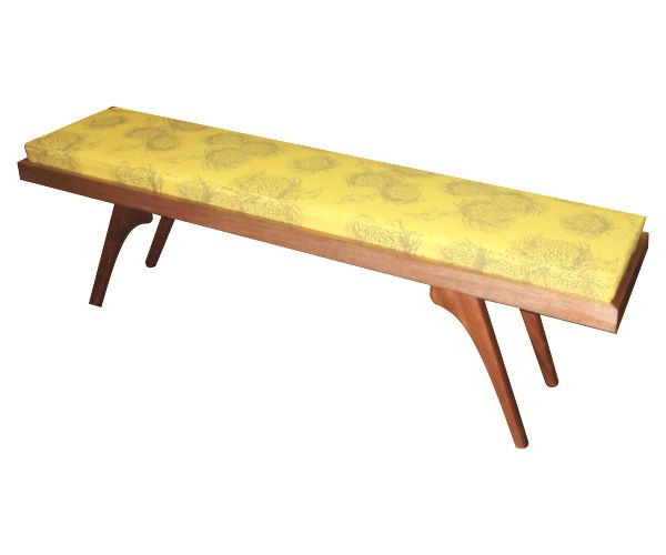 DT Retro Bench in Natural Mahogany with a bright yellow Garden Bloom fabric by Design Team! We can make to order! #custom #furniture #yellow #bench