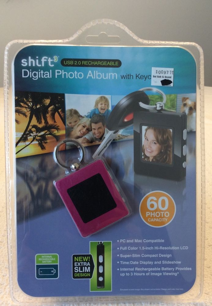 Shift3 Digital Photo Album With Key Chain Holds 60 Photos New In Box Pink Border #Shift3
