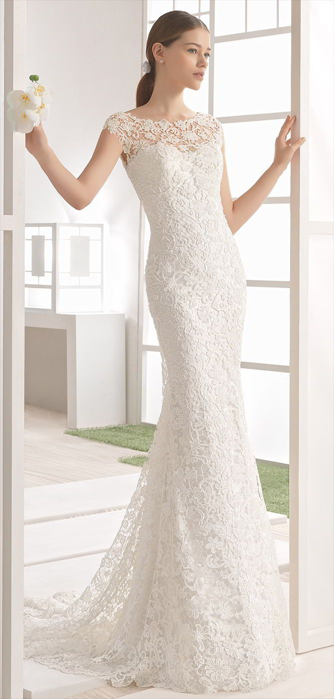 Beaded guipure lace column dress with boat neckline and low back, in natural.