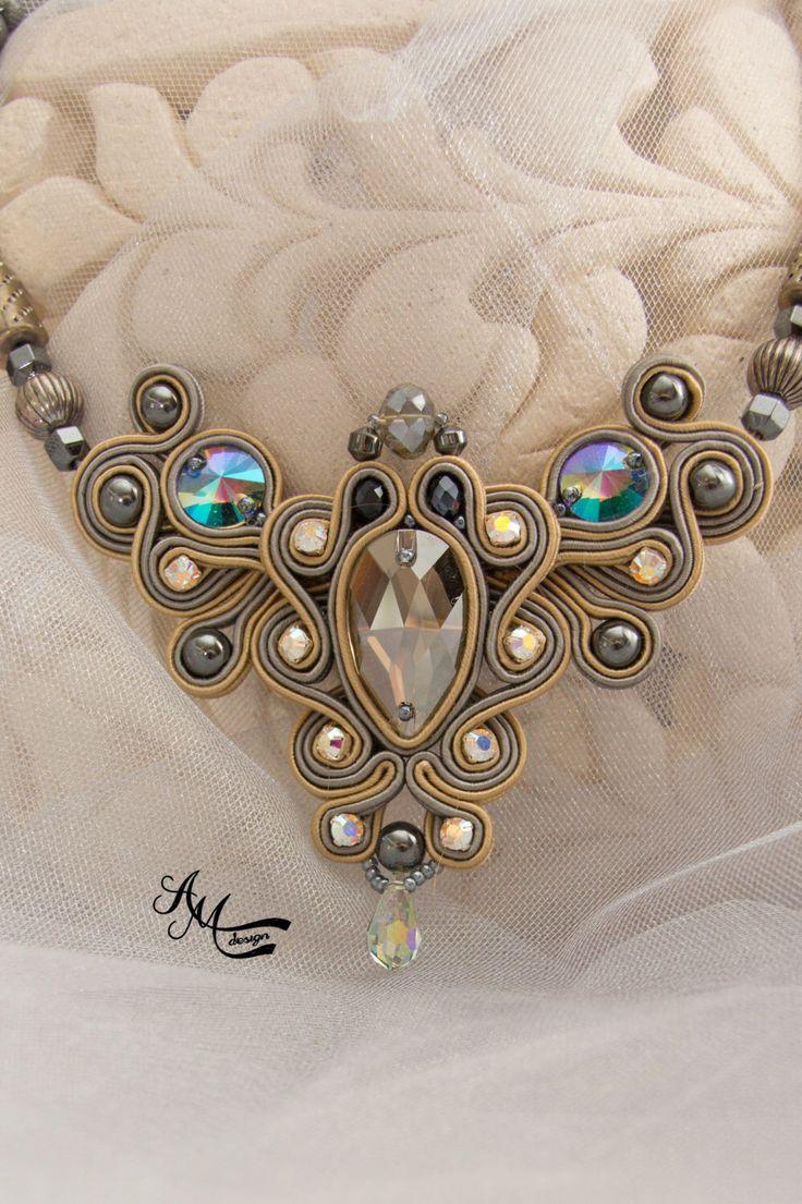 Soutache necklace. Soutache jewelry . by AMdesignSoutache on Etsy https://www.etsy.com/listing/252023517/soutache-necklace-soutache-jewelry
