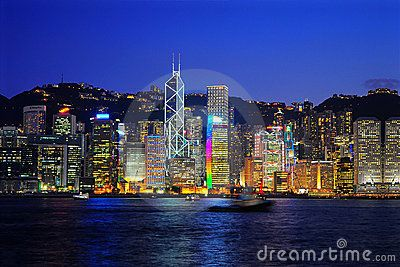 A view of the spectacular skylines of hong kong at night