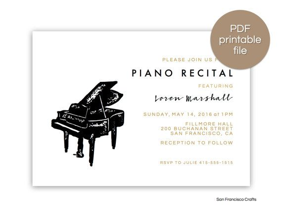 24 Best Music Recital Invitations Images On Pinterest Texts