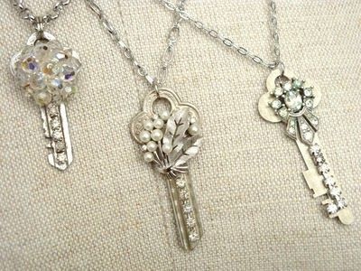 DIY Key Necklaces = all you need is keys, bling and E6000 glue