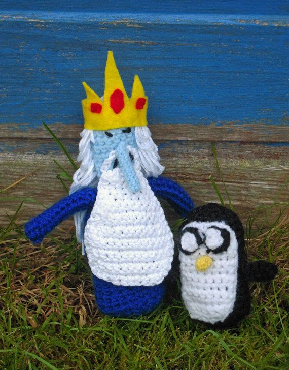 Crochet Ice King & Gunter by twixtseaandpine via etsy