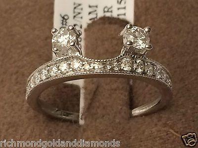 14k White Gold Diamond Milgain 0.50c Vintage Solitaire Wrap Ring Guard Enhancer