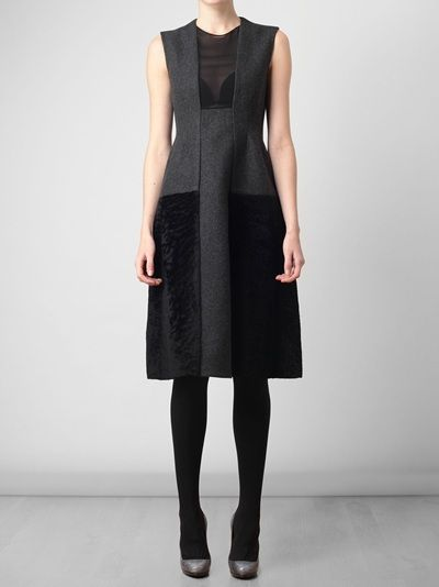 Charcoal wool dress with contrasting black Astrakhan skirt from Calvin Klein Collection.