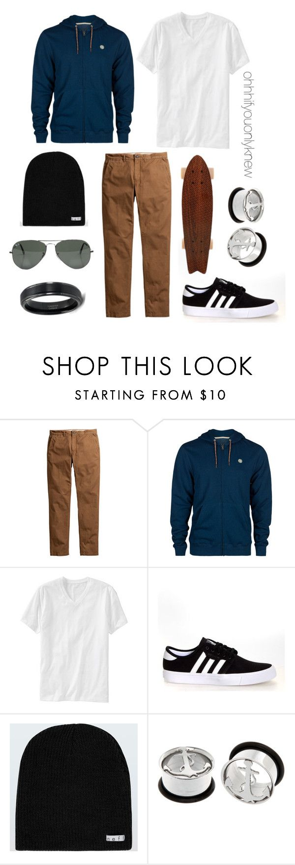 """""""Untitled #232"""" by ohhhifyouonlyknew ❤ liked on Polyvore featuring Element, Old Navy, adidas, Neff, Ray-Ban, MyStyle, menswear, tomboy, mycreations and dyke"""