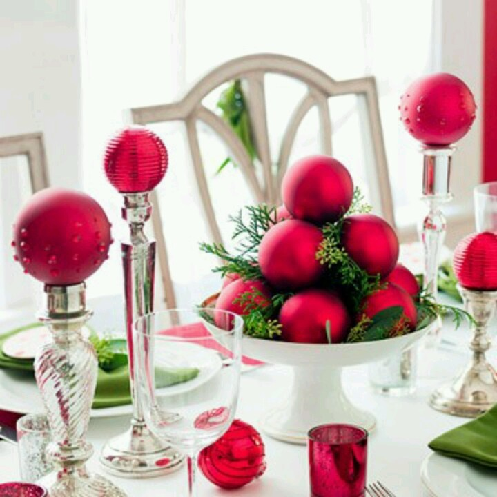 Just simple red ornaments from dollar store, odds and ends candlesticks and little bit of greenery from yard and your table is beautiful.