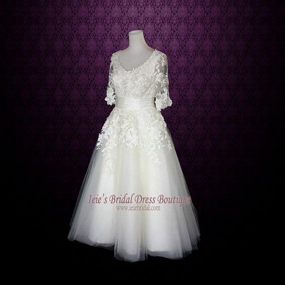 Retro Wedding Dress Tea Length Wedding Dress Long Sleeves by ieie