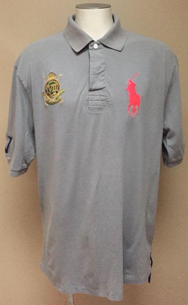 a722505e *POLO RALPH LAUREN* Men's Grey Big Pony County Riders Jockey Club Shirt XLT  TALL | eBay