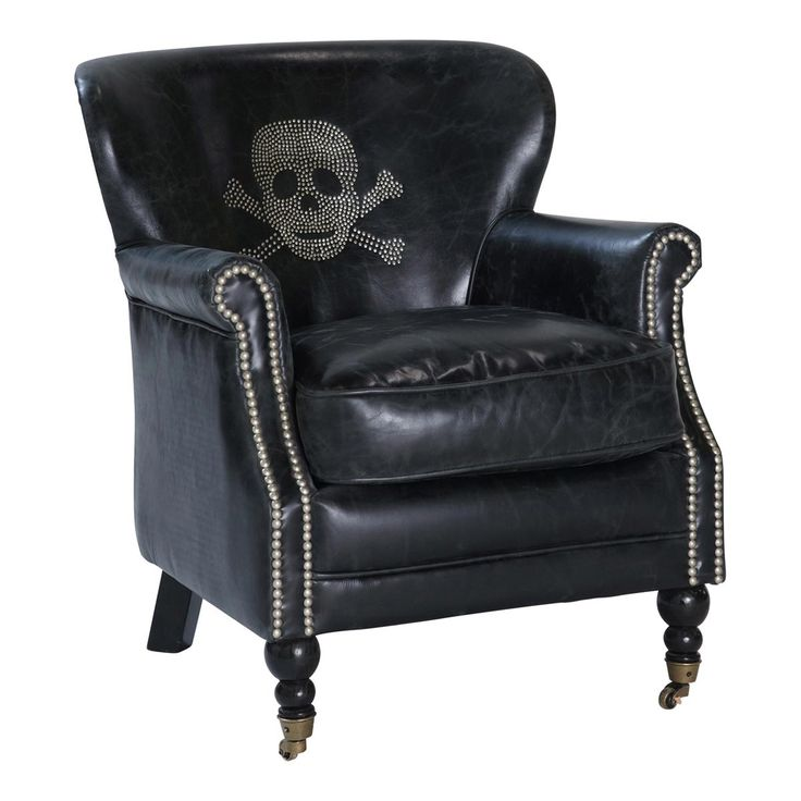 Vintage Black Leather Armchair with Skull Zadig