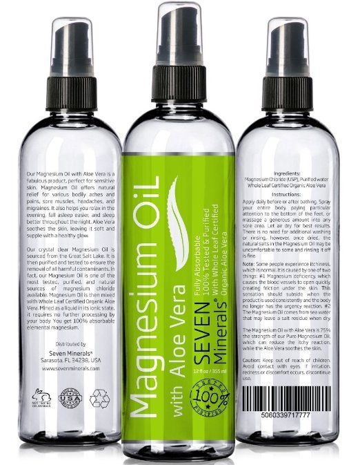 12oz Magnesium Oil with ALOE VERA - LESS ITCHY - Made in USA - FREE eBook - SEE RESULTS OR MONEY-BACK - Best Cure for Restless Legs, Leg Cramps, Sore Muscles. Get Healthy Hair & Skin and Sleep Better!