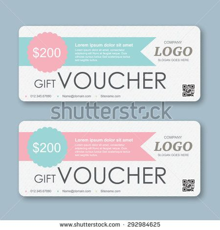 gift Voucher template with colorful pattern. - stock vector