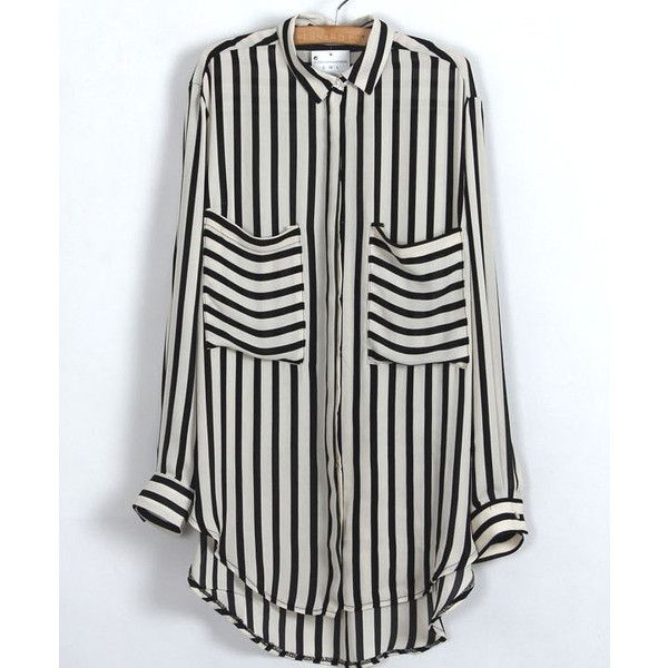 SheIn(sheinside) Black Beige Vertical Stripe Pockets Chiffon Blouse ($13) ❤ liked on Polyvore featuring tops, blouses, black, striped chiffon blouse, black chiffon blouse, chiffon top, black long sleeve blouse and collar blouse