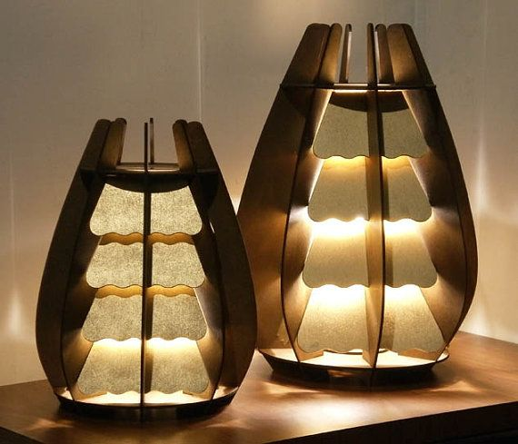 Conifer2 Table Lamp smaller size geometric wood by SectorXero