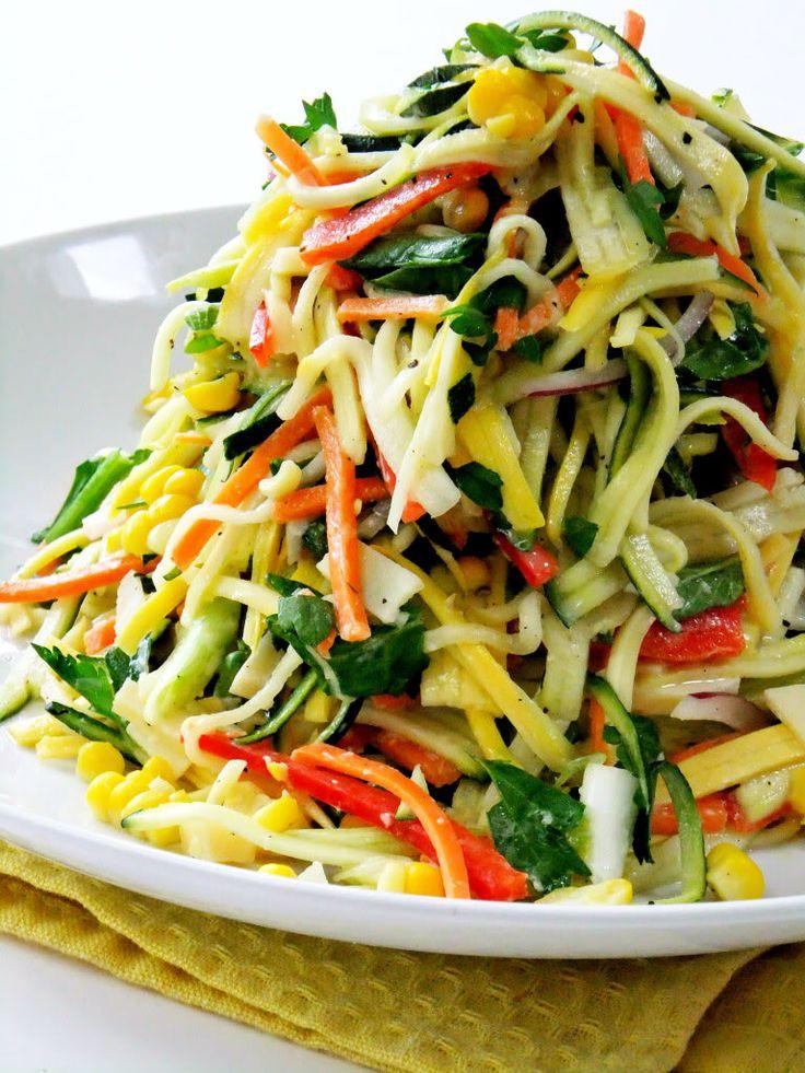 Summer Veggie Slaw :: yellow squash, zucchini, red pepper strips, carrots, radish, green/red onions, sweet corn, fresh basil & parsley