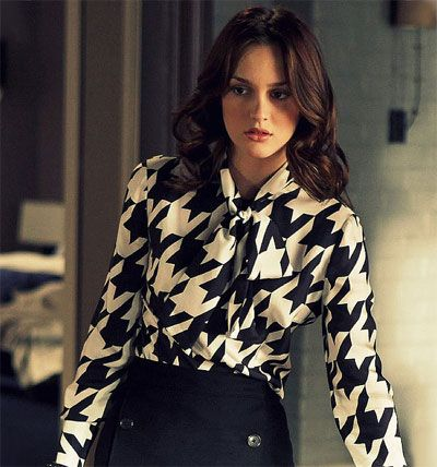 blouse, houndstooth