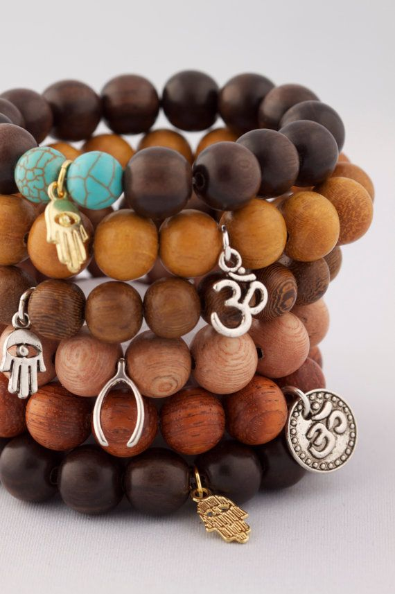 Yoga Inspired Wood Mala Bracelet by ketoora on Etsy, $25.00