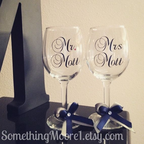 Personalized Pair of Wine Glasses by SomethingMoore1 on Etsy