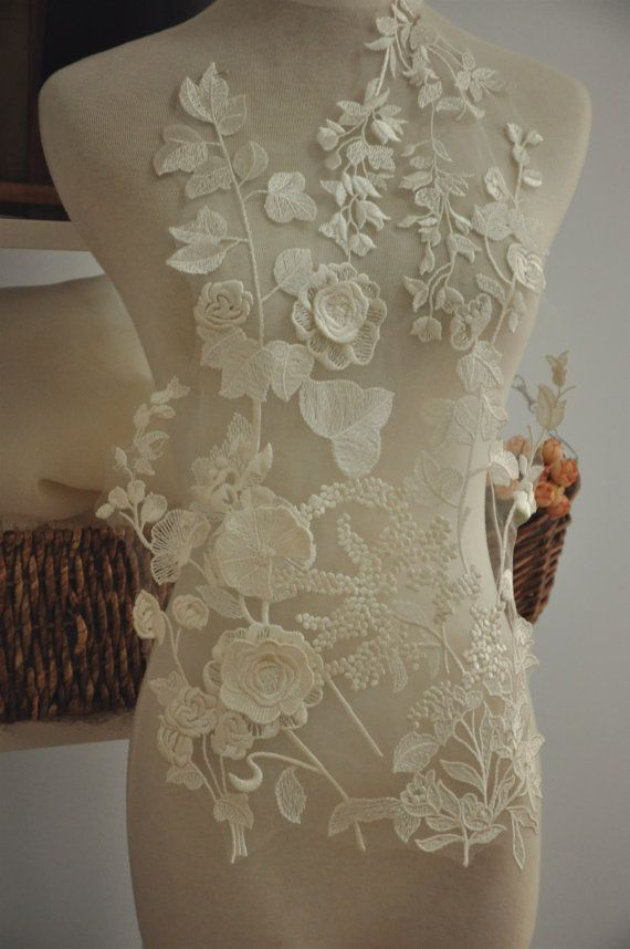 £7.37 This 3D wedding lace appliqués are simply stunning. They are far more beautiful in person  with great beautiful lace and superb workmanship  size is about 54 x 30 cm ,a very large piece .  There are 3 pieces of 3D rosette on this applique, as you can see from last picture .  Similar style  https://www.etsy.com/listing/251956975/wedding-bridal-lace-applique-bridal-veil?ref=shop_home_feat_2…