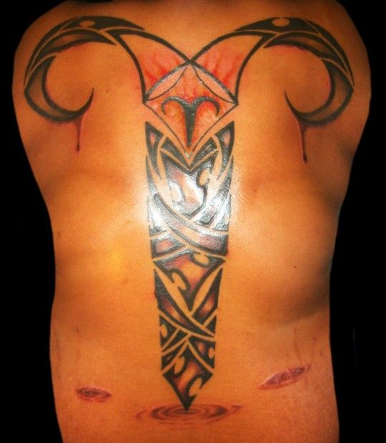 Amazing Tribal Aries Zodiac Tattoo On Back - pictures, photos, images
