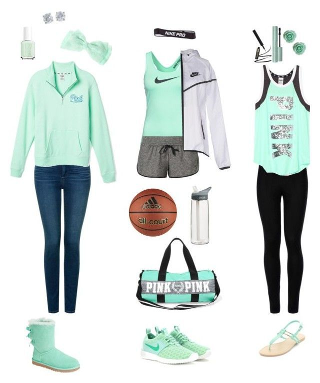 """Best friends outfit / mint green"" by millerkate ❤ liked on Polyvore featuring NYDJ, Victoria's Secret PINK, NIKE, Essie, Victoria's Secret, UGG Australia, adidas, CamelBak, Wolford and Tiffany & Co."