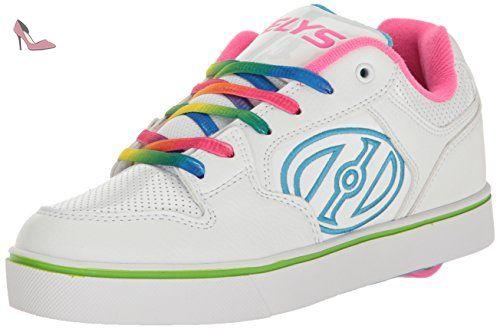Heelys Launch, Chaussures de Tennis Fille, Blanc Cassé (White/Teal/Multi Geo), 40.5 EU
